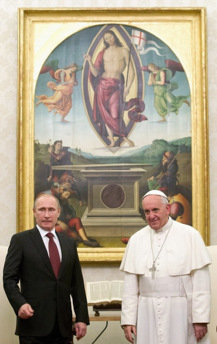 Vladimir Putin and Pope Francis, both standing in front of Jesus Christ holding a flag like England, the mark of Dan.
