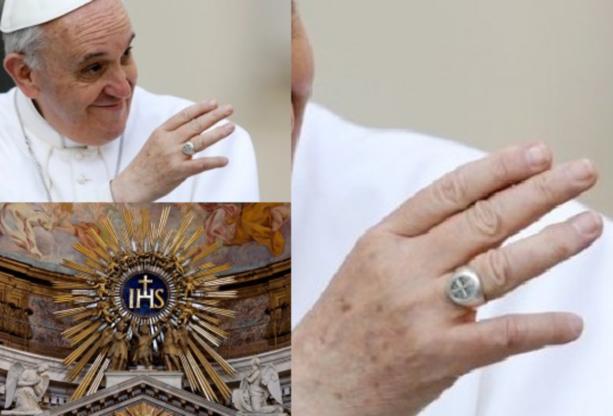 Pope Francis who is a Jesuit, with a cross on his ring.The cross/mark of Dan on Pope Francis's ring  IHS of the Jesuit order, with the cross in a sun blaze. IHS = in hoc signo, in this sign, the Cross they shall conquer.