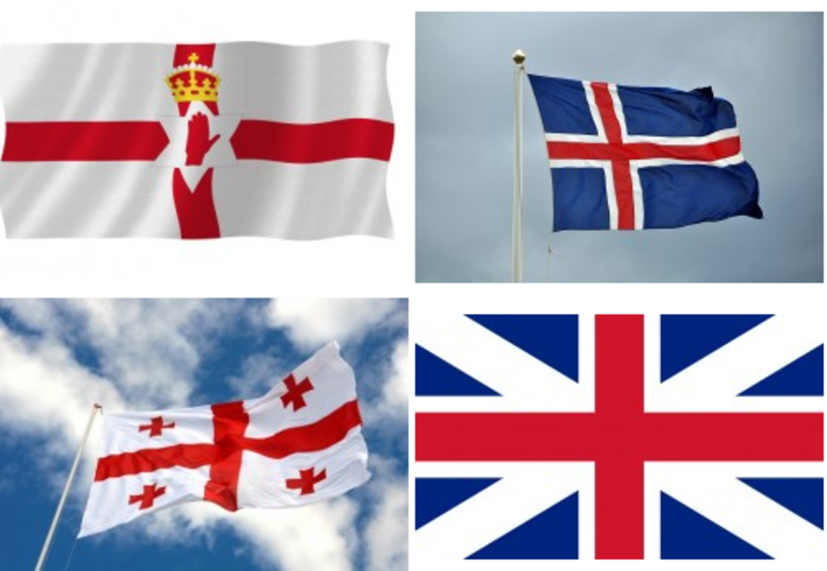 """Top left: Flag of Northern Ireland, Top right: Flag of Iceland, Bottom left: Flag of Georgia, Bottom right: Flag of the """"kingdom of Great Britain"""" Used on their ships on the high seas and was the official flag from 1707 to 1801"""