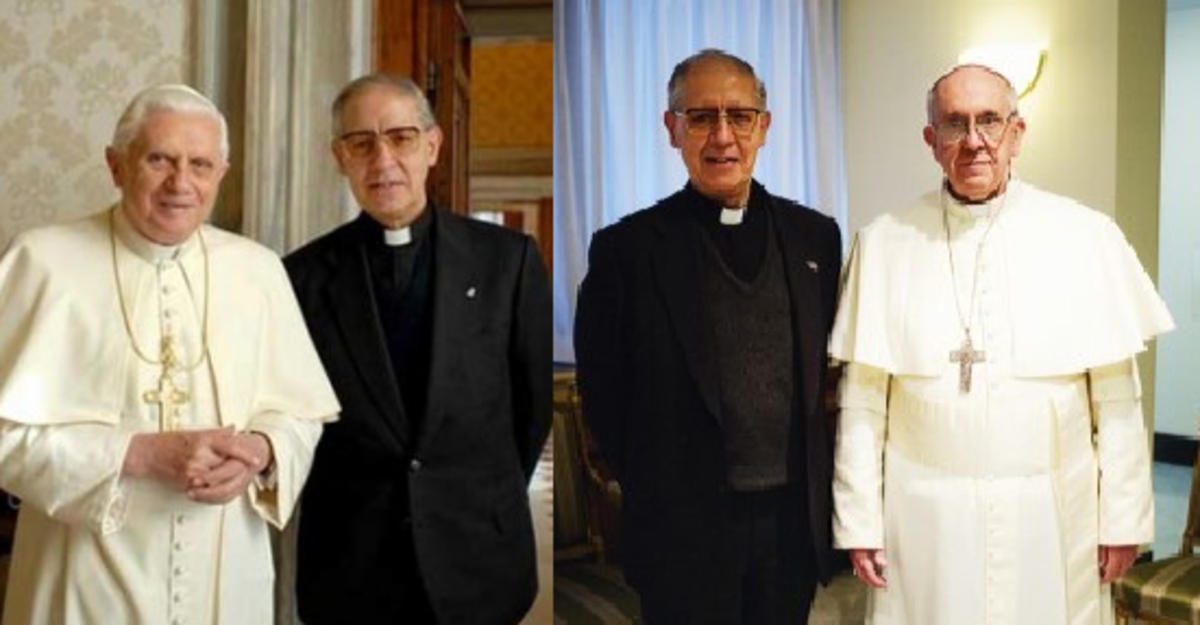 Pope Benedict XVI (White pope) and Superior General of the Society of Jesus Aldolfo Nicolas. Also known as the Black pope. And Aldolfo Nicolas with Pope Francis. They have taken a vow to each other.