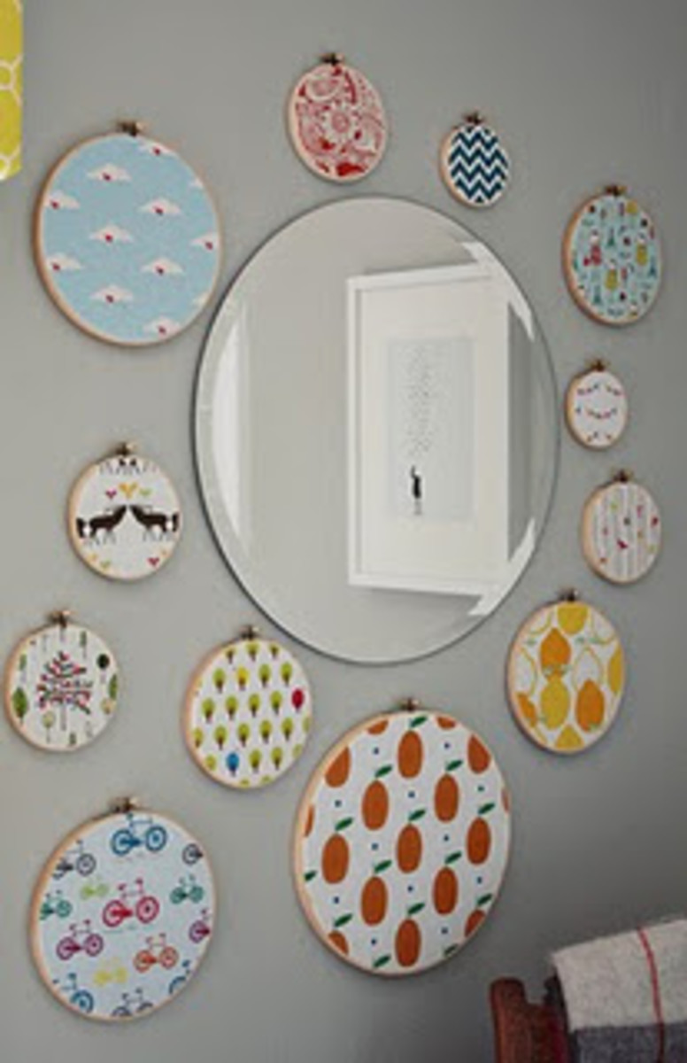 embroidery hoops framing a mirror
