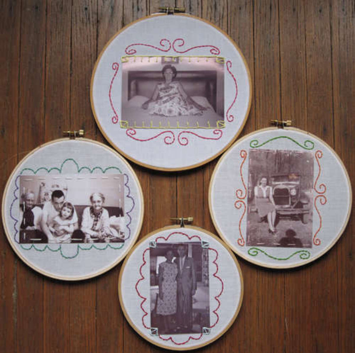 embroidery hoop wall photo decor