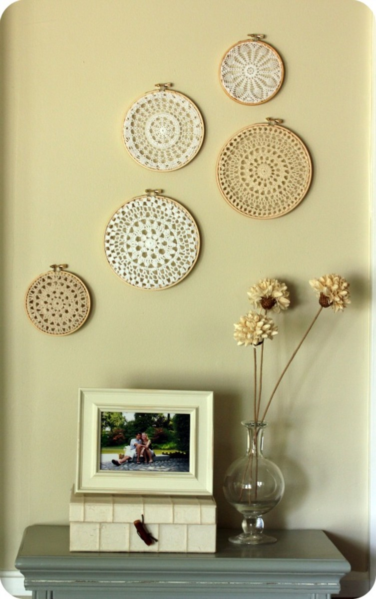 doily embroidery hoop wall decor