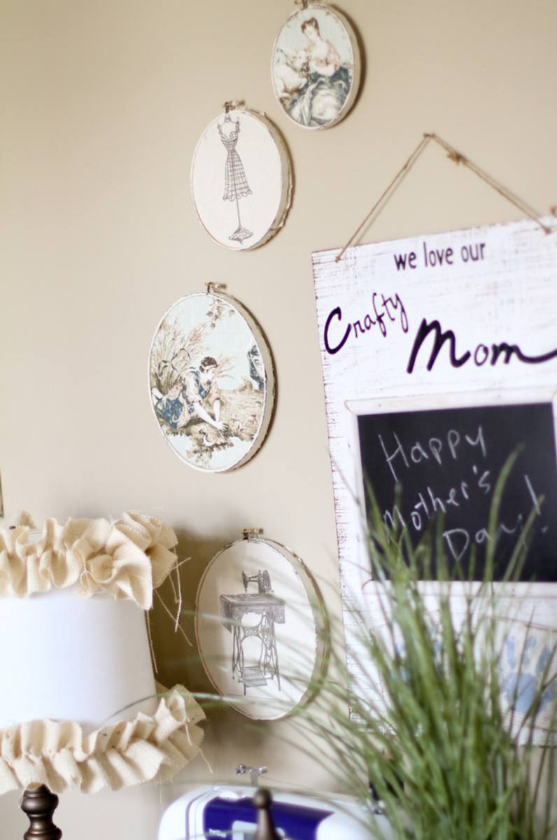 rustic chic embroidery hoop decor