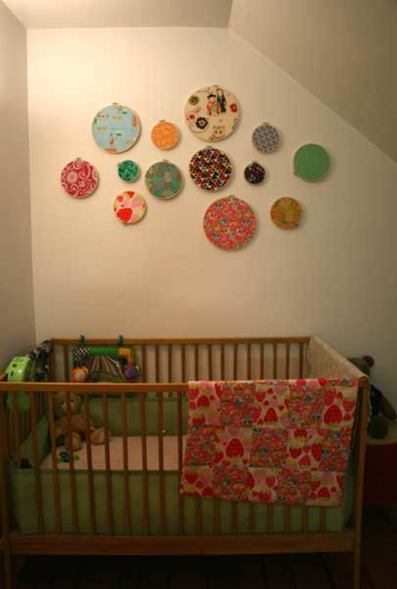 embroidery hoops décor in a nursery