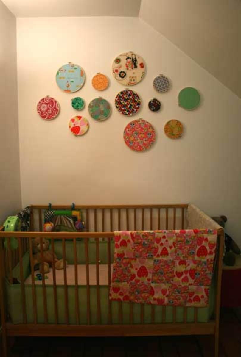 embroidery hoops décor in a nursery