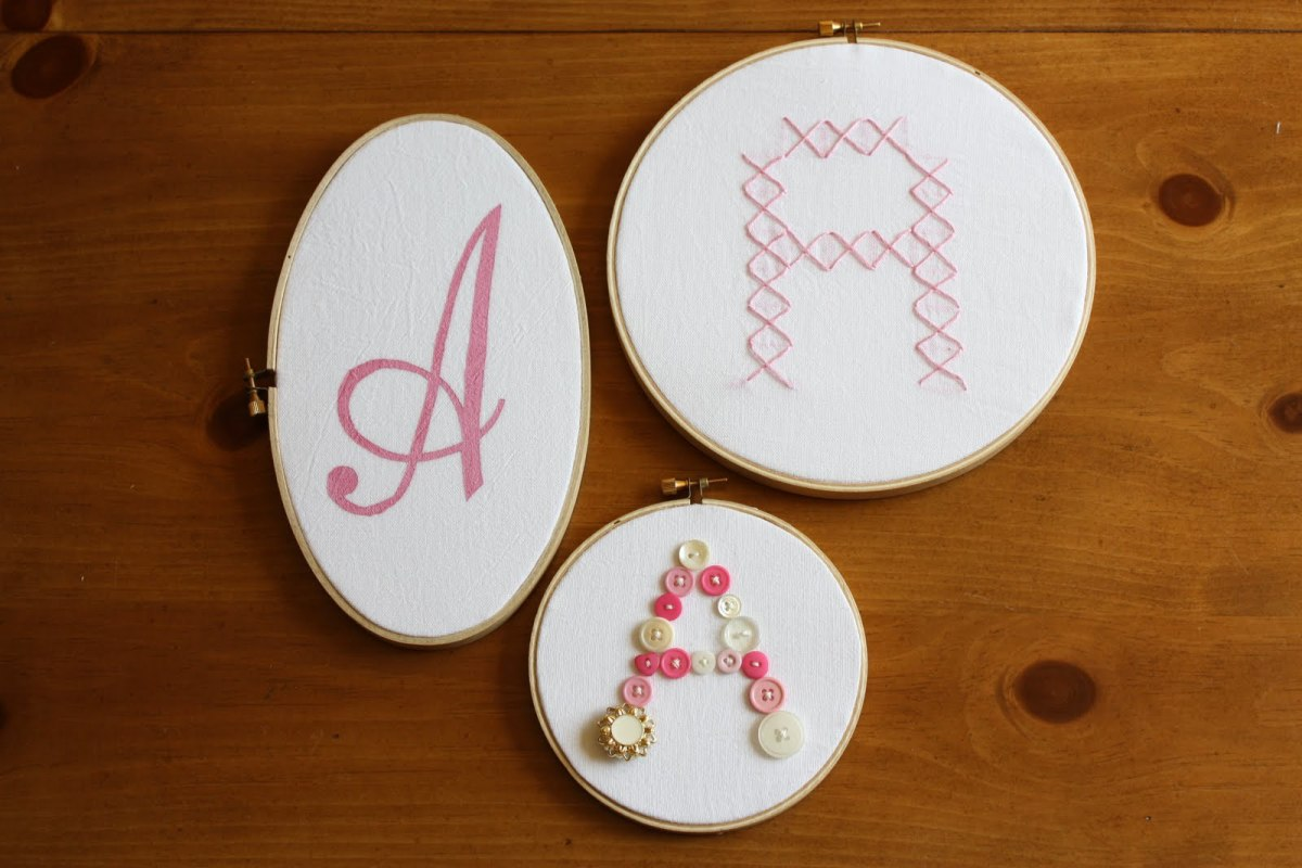 monogrammed embroidery hoop wall decor