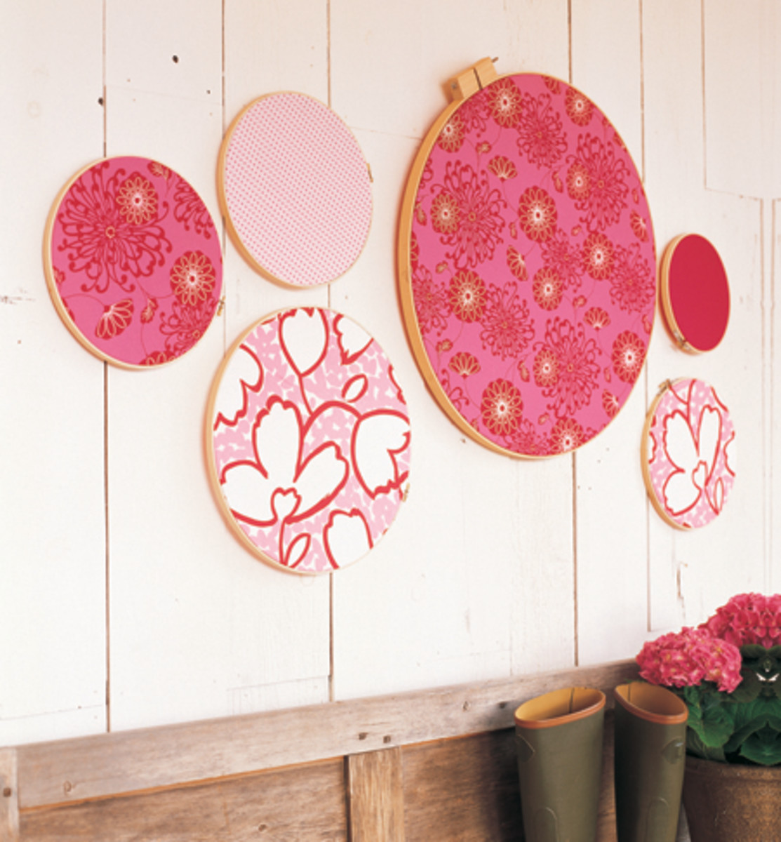 pink embroidery hoop wall art