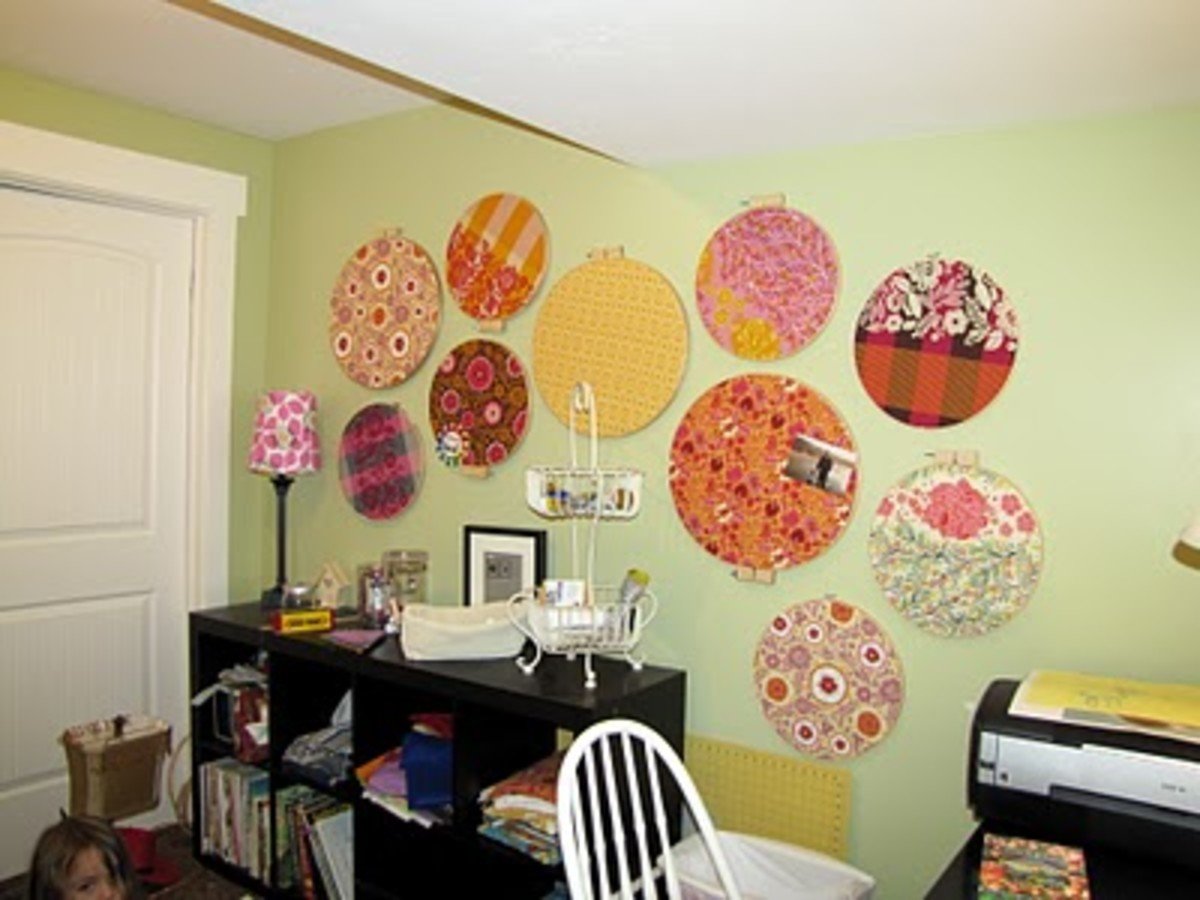 embroidery hoop work room decor