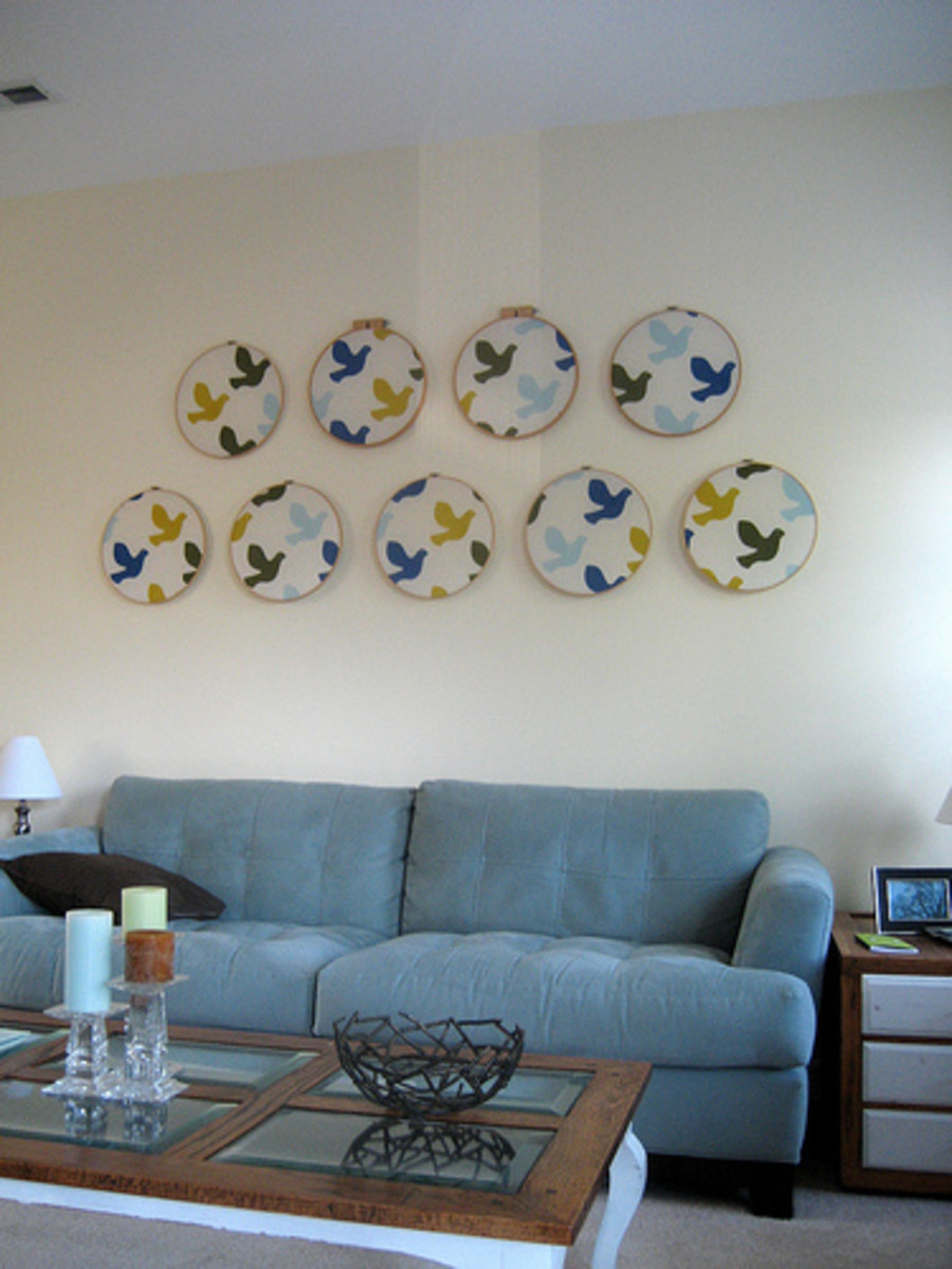 living room embroidery hoop decor