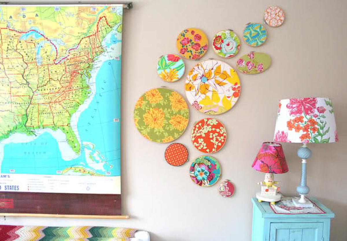 embroidery hoop wall grouping