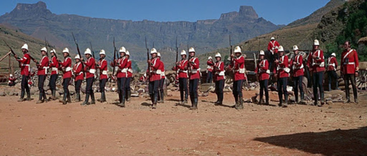 The Defending army - the thin red line of the British soldiers at Rorke's Drift