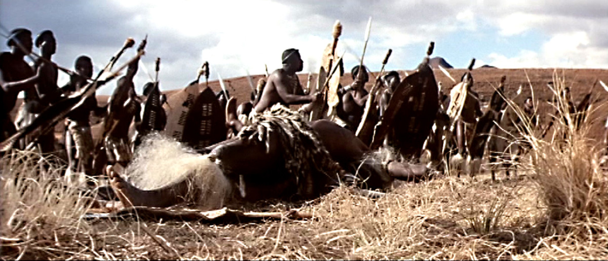 The attacking army - the Zulu nation prepares to take on the colonialist force