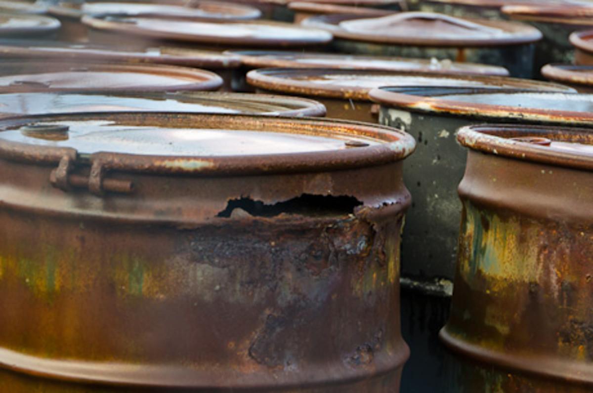 leaking barrels of hazardous contaminants at the LeRoy Superfund Site