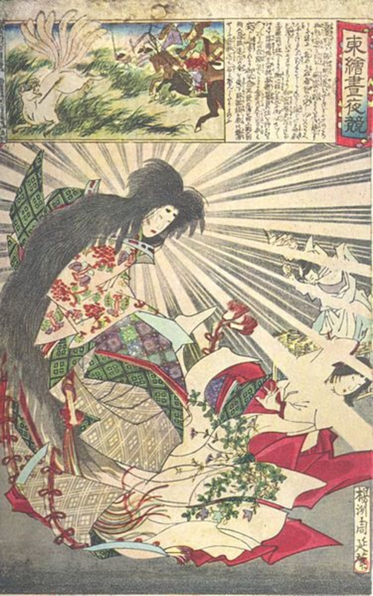 A woodblock print by Chikanobu, depicting Tamamo-No-Mae in her human form (below), and as a fox hunted by the Emper Konoe's warriors (above).