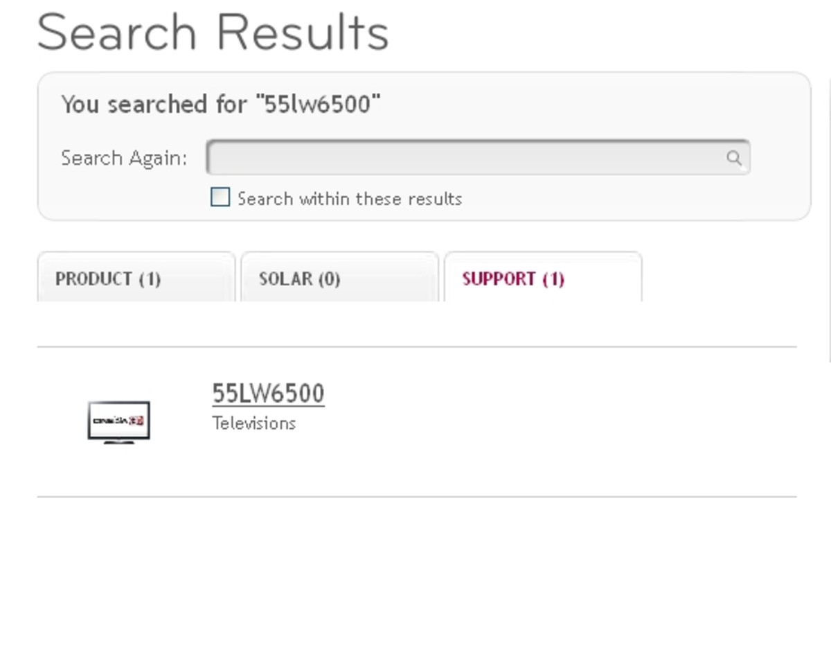Find your LG TV model in the list of search results.