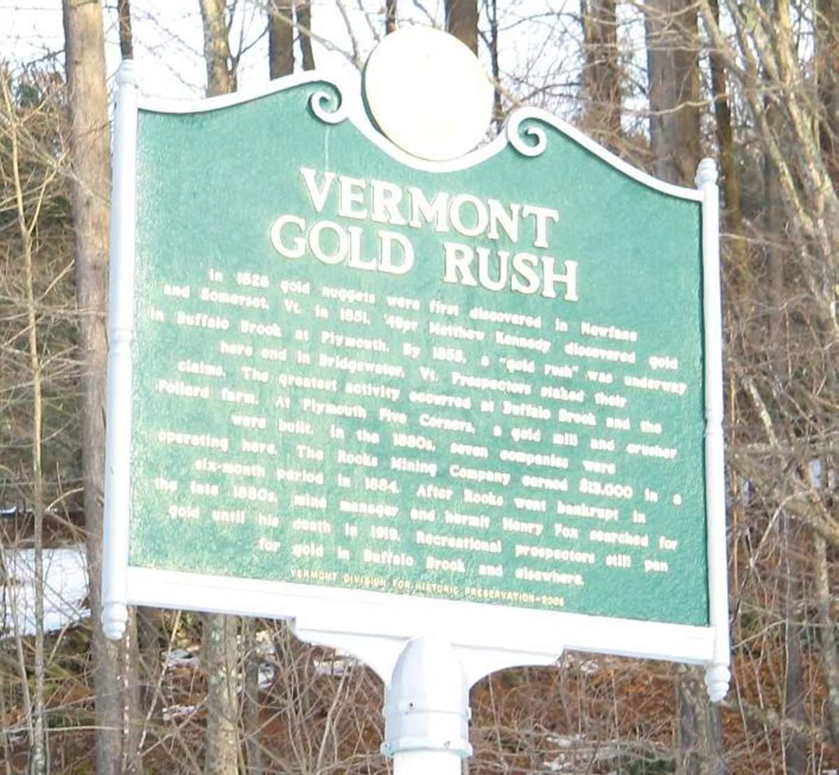 Gold mine in Vermont
