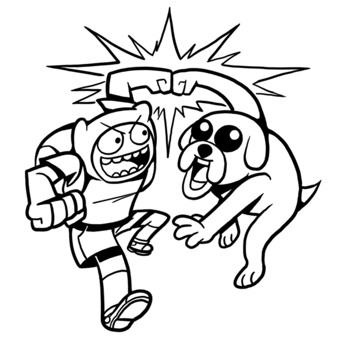 finn and jake doing a power fist - Adventure Time Coloring Pages Jake