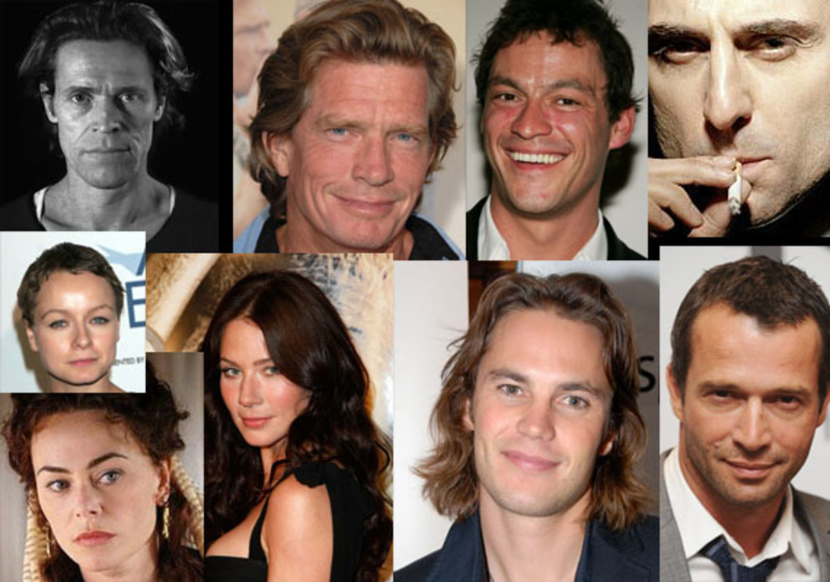 Cast of JCM: ( clockwise) Willem Dafoe, Thomas Haden Church, Dominic West, Mark Strong, Samantha Morton, Polly Walker , Lynn collins, Taylor Kitsch, James Purefoy
