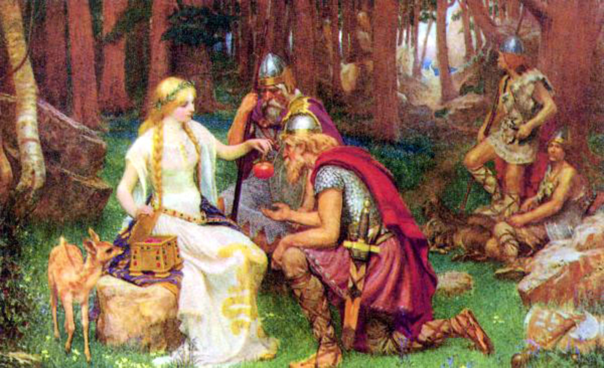 Idun giving Loki the apple - norse mythology, goddess of apples