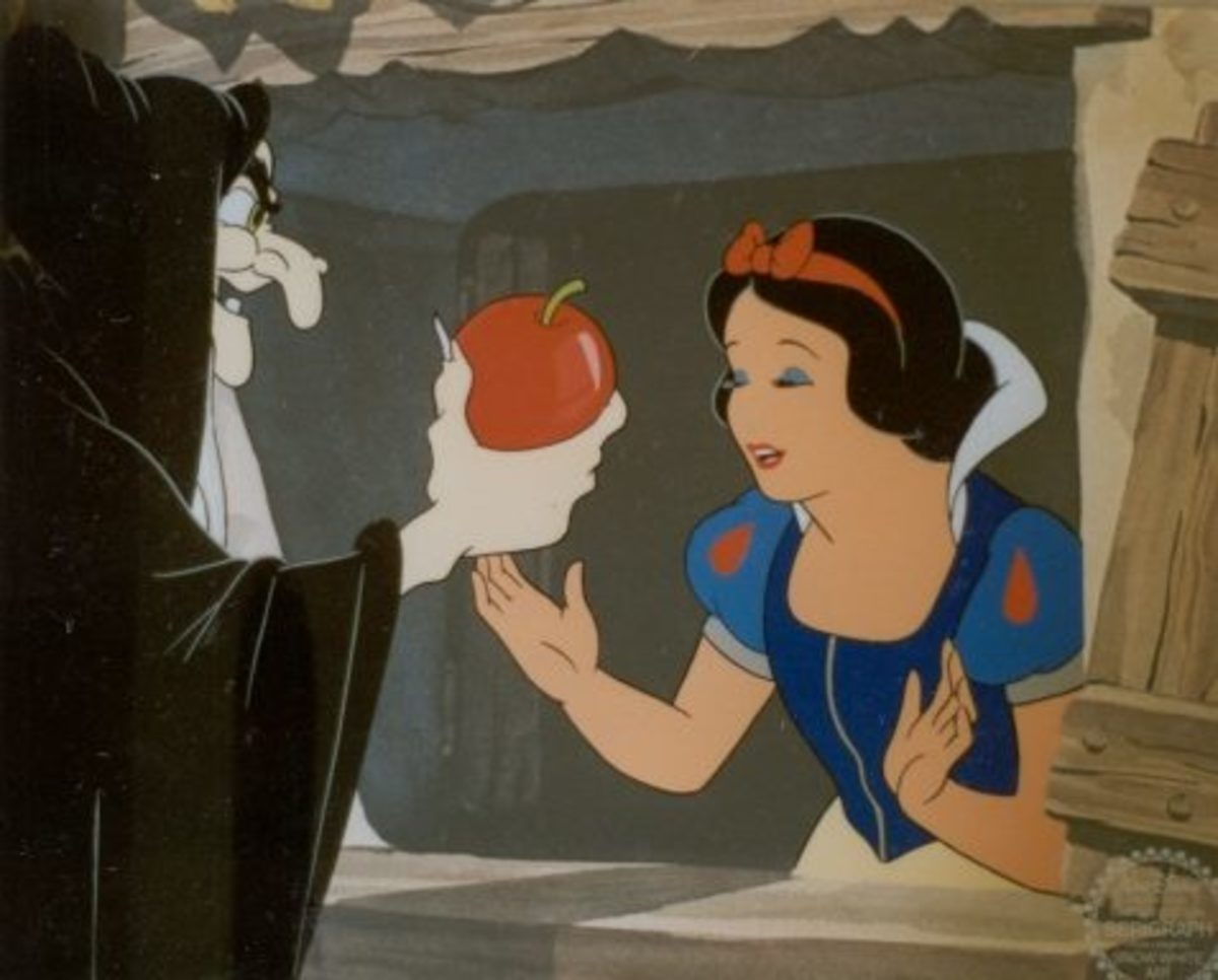 Snow White's evil step-mother is disguised as an old lady and hands her a poisoned apple to eat.