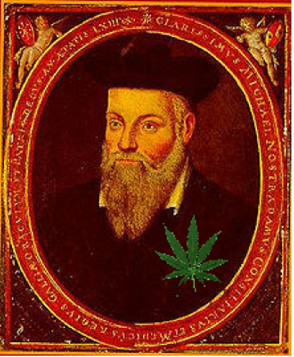 This portrait of Nostradamus was painted by his son Cesar and defiled by me.