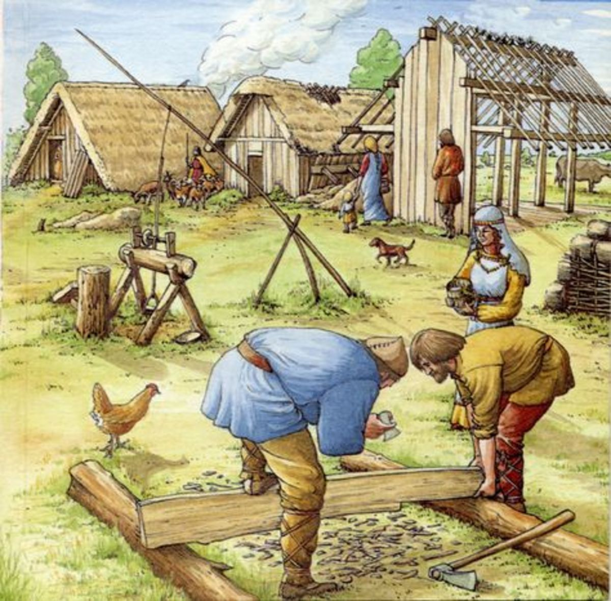 Working outdoors at the manor - repair or new building work was always there for the employment of craftsmen