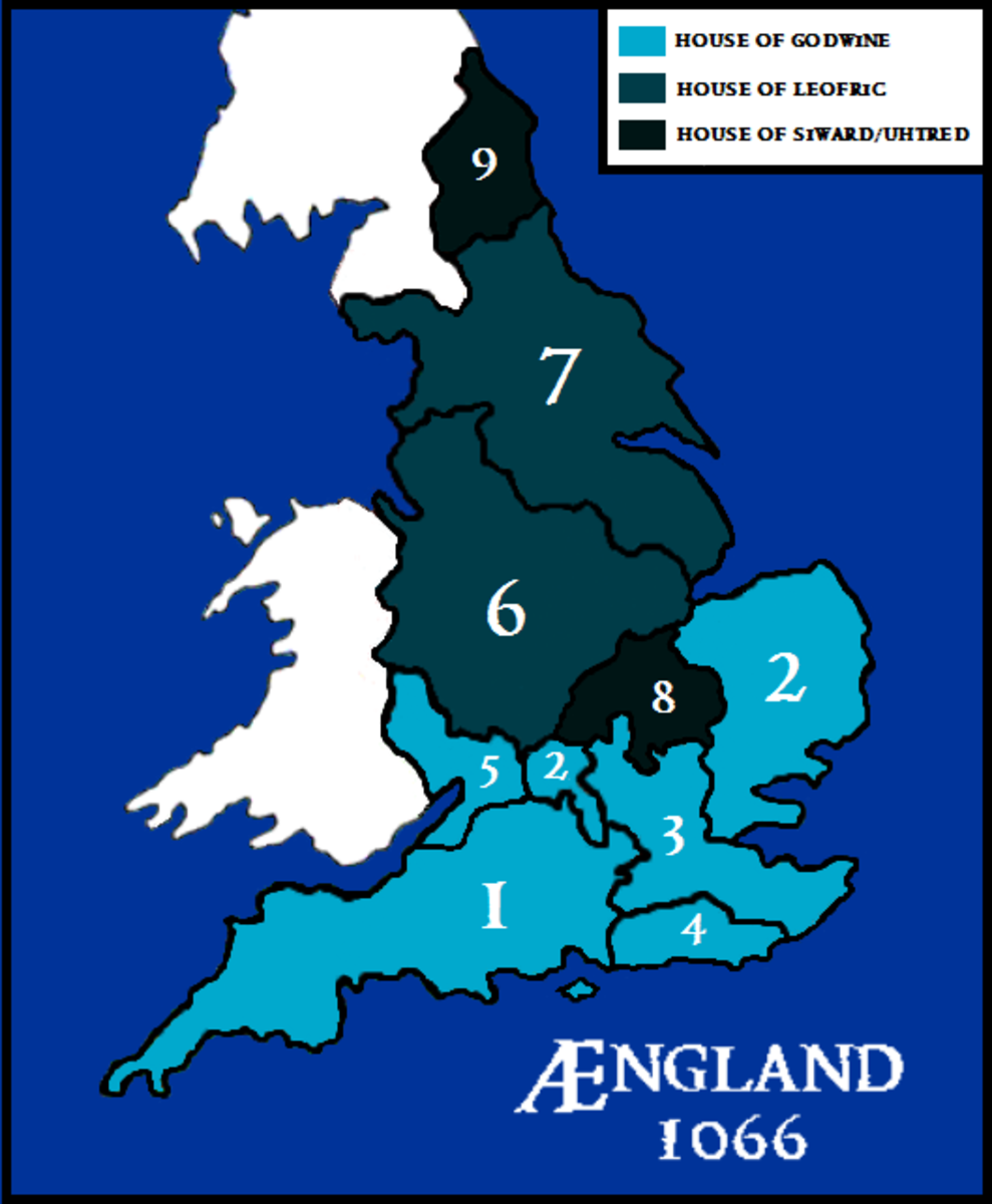 English family links and earldoms after Tostig's deposition 1065: 1-5 The Godwinsons: Harold, Gyrth, Leofwin; 6-7 Leofric's heirs: Eadwin, Morkere; Siward's kin: 8. Waltheof, 9: Gospatric