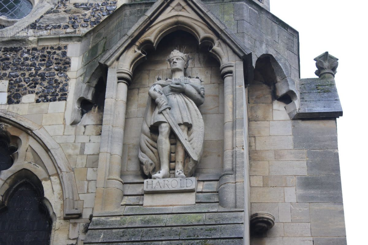 Contemporary statue to Harold at Waltham Church, to the right of the main door, south west corner