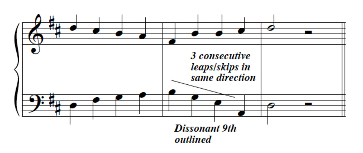 Bass issues 2--3 consecutive skips/leaps, outlined 9th