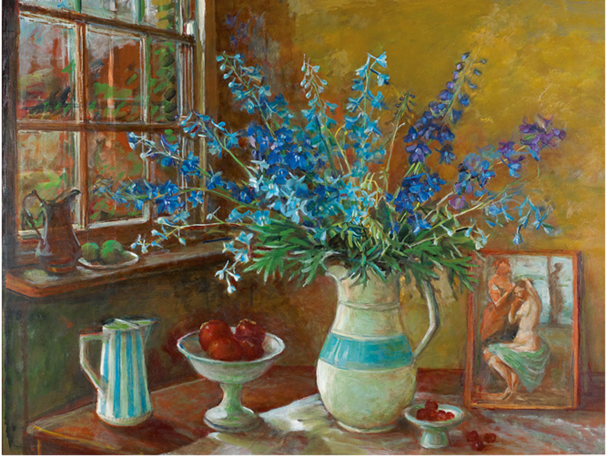 Margaret Olley | Delphiniums and Postcard circa 1970-73 oil on board, 88 x 119 cm