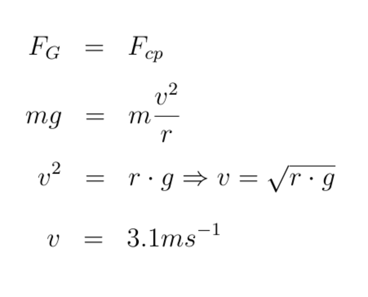 Fig. 5. Calculation of the speed of a rotating bucket of water.
