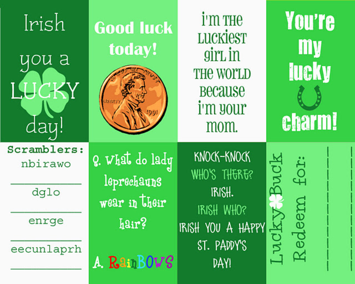 St. Patrick's Day Printable Lunch Box Notes