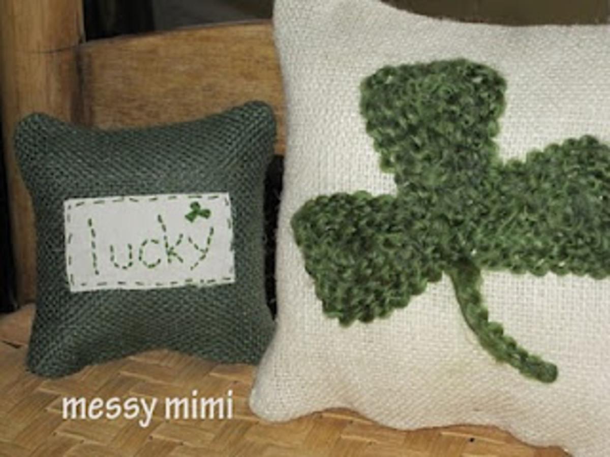 Burlap Shamrock Pillows