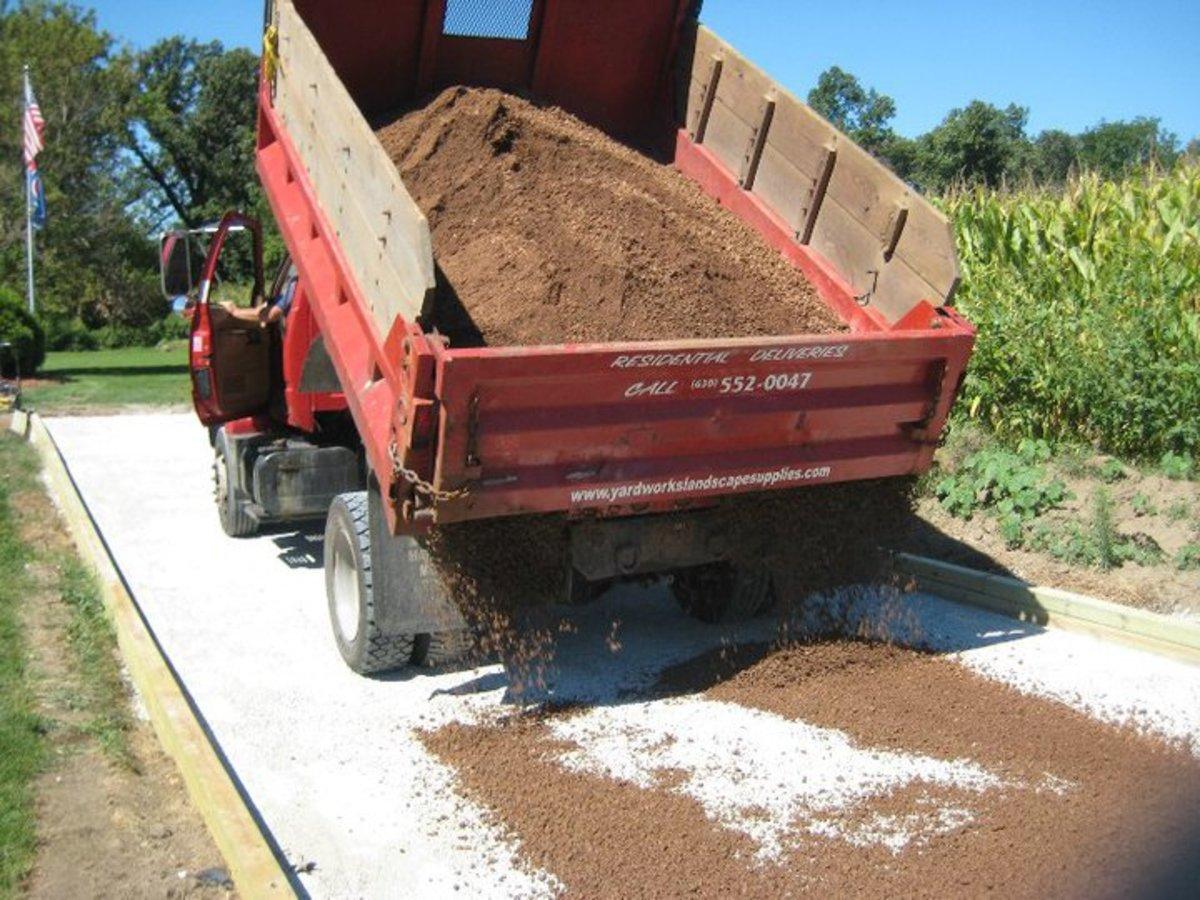 Spreading decomposed granite