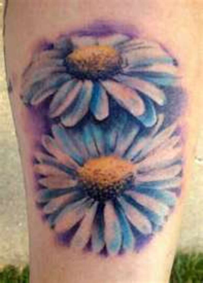 Realistic Small Daisy Flower Tattoos
