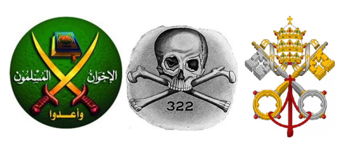 Large Muslim Organization Playing the Opposing Side of Christianity. Notice the similar motif in this symbol of the Muslim Brotherhood and of the Skull and Bones symbol and the Vatican Symbol. It looks like the Chi-Rho.