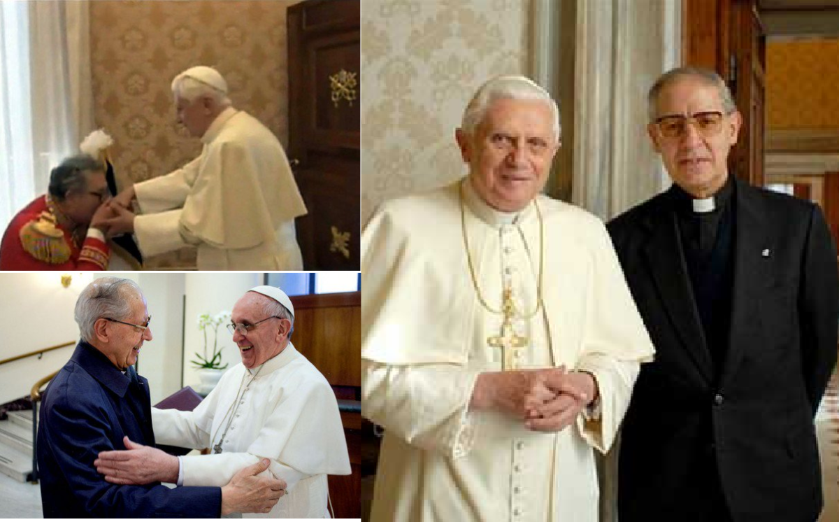 Fra' Matthew Festing, the 79th Prince and current Grand Master of the Sovereign Military Order of Malta, kissing Pope Benedict's ring. Pope Francis and the Jesuit Superior General Adolfo Nicolas. Who serves who? Pope Benedict XVI (now called Pope Eme
