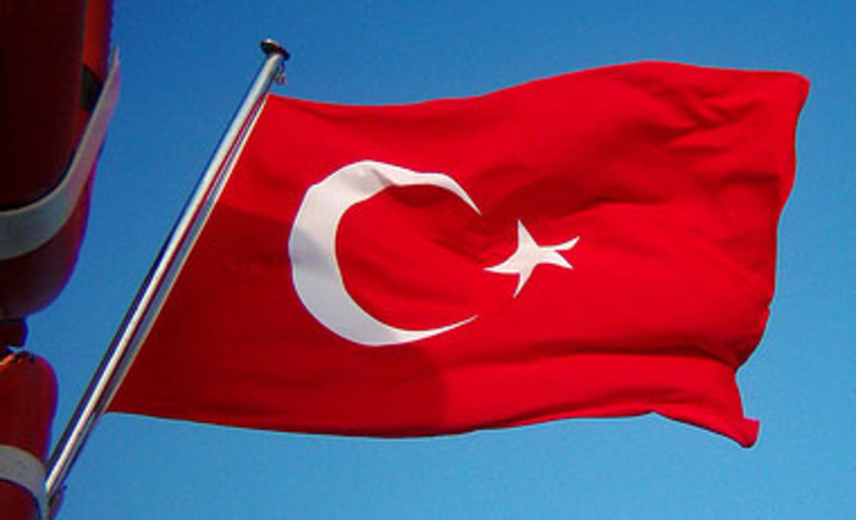 Flag of Turkey, a white sun with a red full moon and a white star.