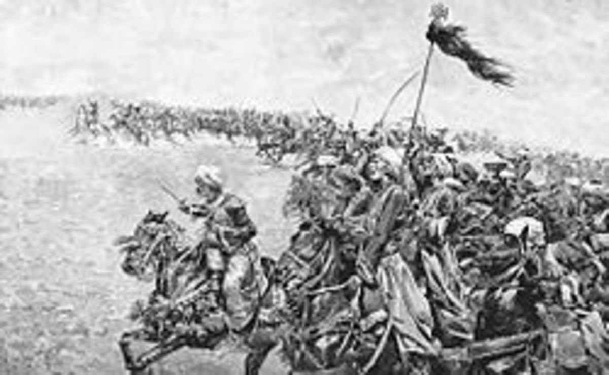 The Mamlukes charge the French squares.