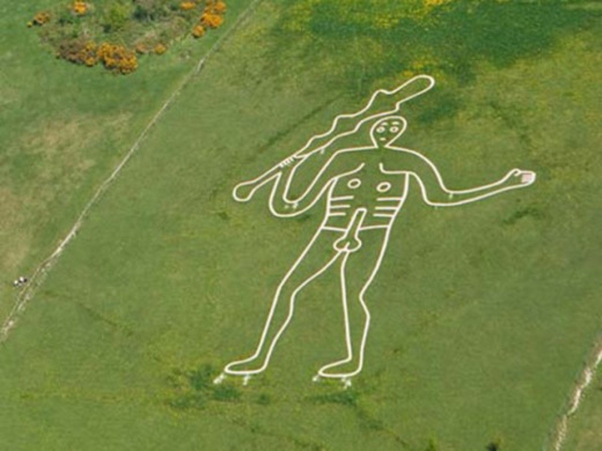 The Cerne Abbas giant, the design copied by Harold for his personal banner, the figure outlined in precious stones