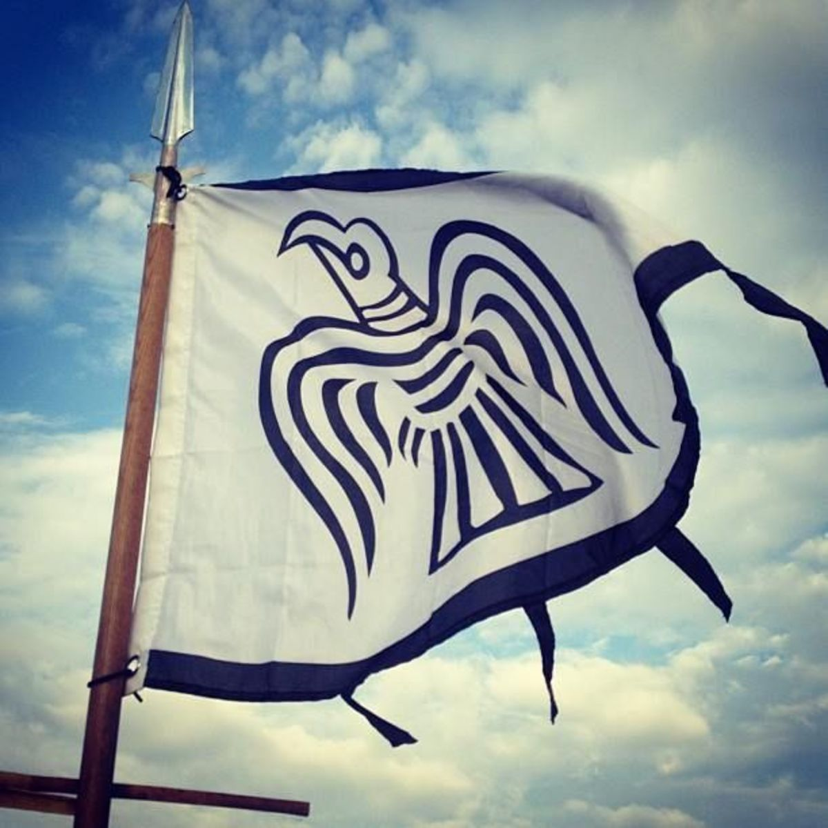 Hrafnsmerki, Harald Sigurdsson's raven banner was taken after his death to the Western Isles and ended up on Skye at the MacLeod's Dunvegan castle as 'the fairy flag' that warned of danger from a Morrison attack