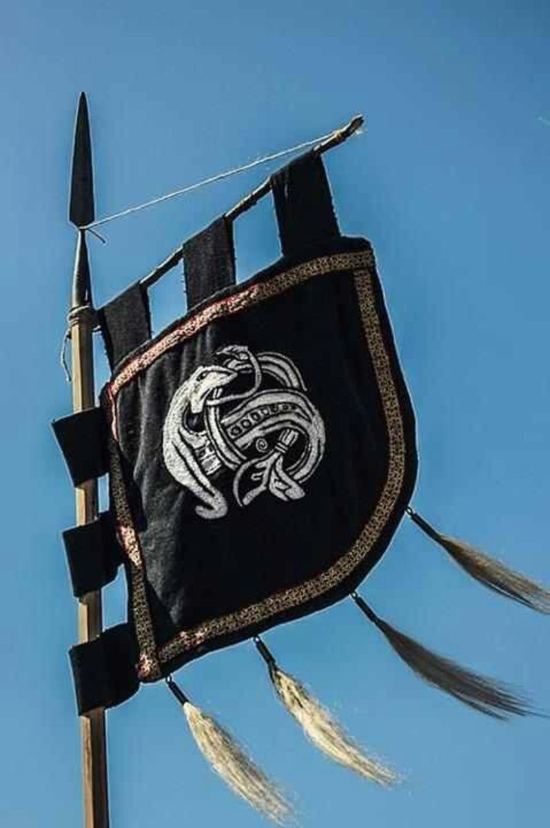 Viking banner in Mammen style with intertwined serpent motif