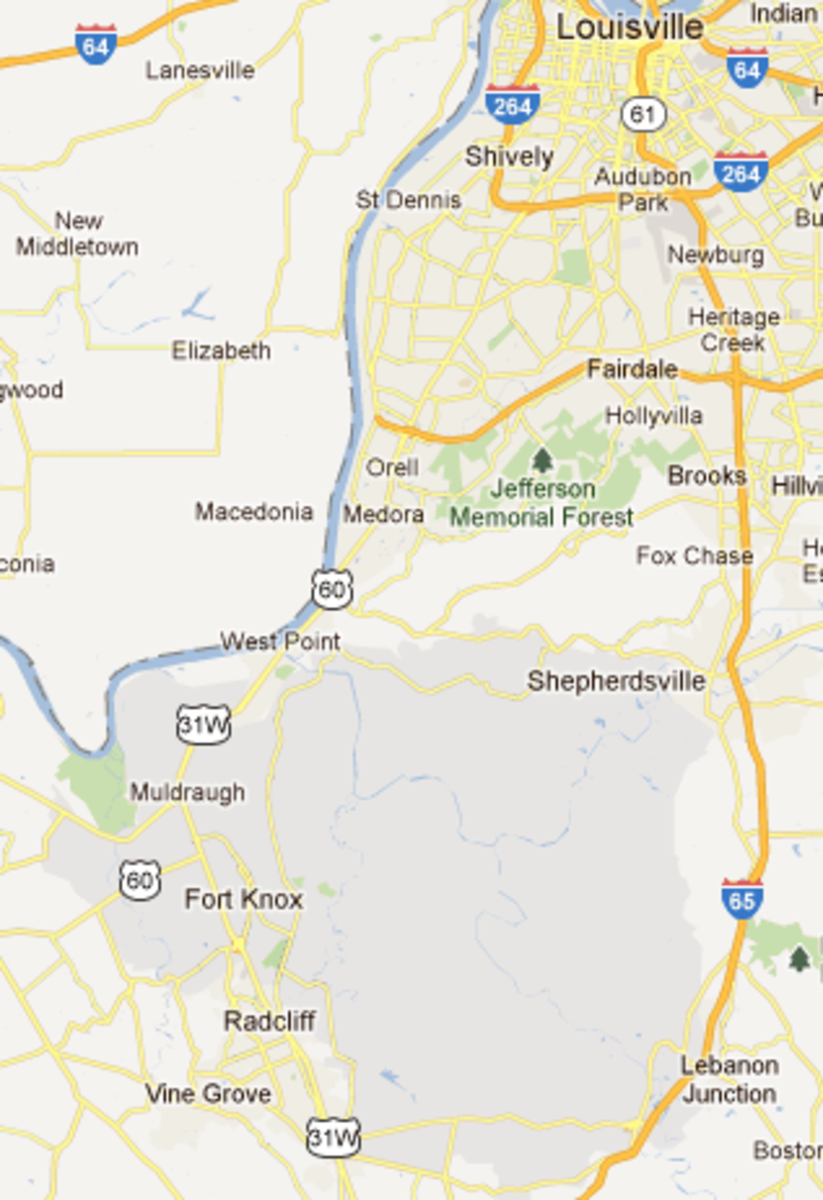 Fort Knox Military Base is about 30 miles south of Louisville, KY