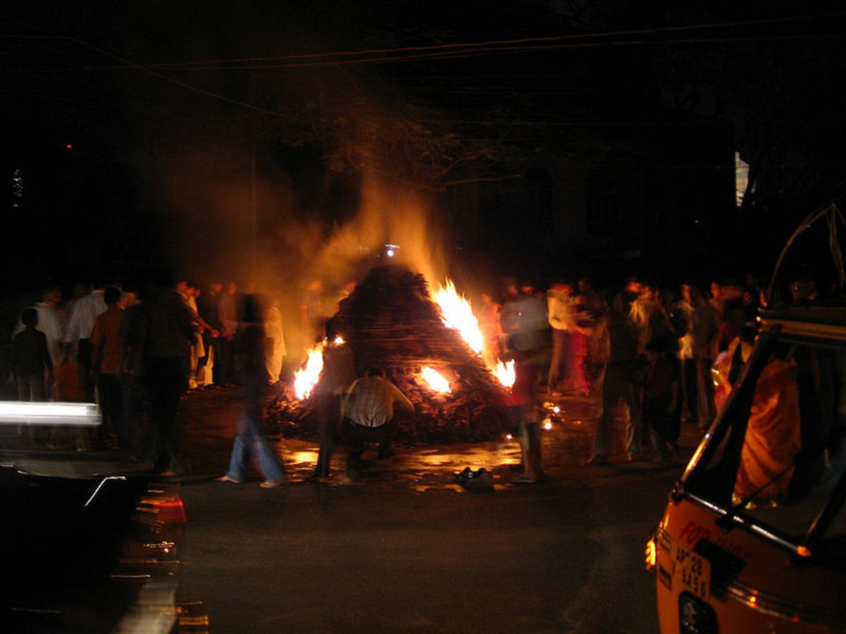 The Holi Bonfire Symbolizing The Burning Of Holika