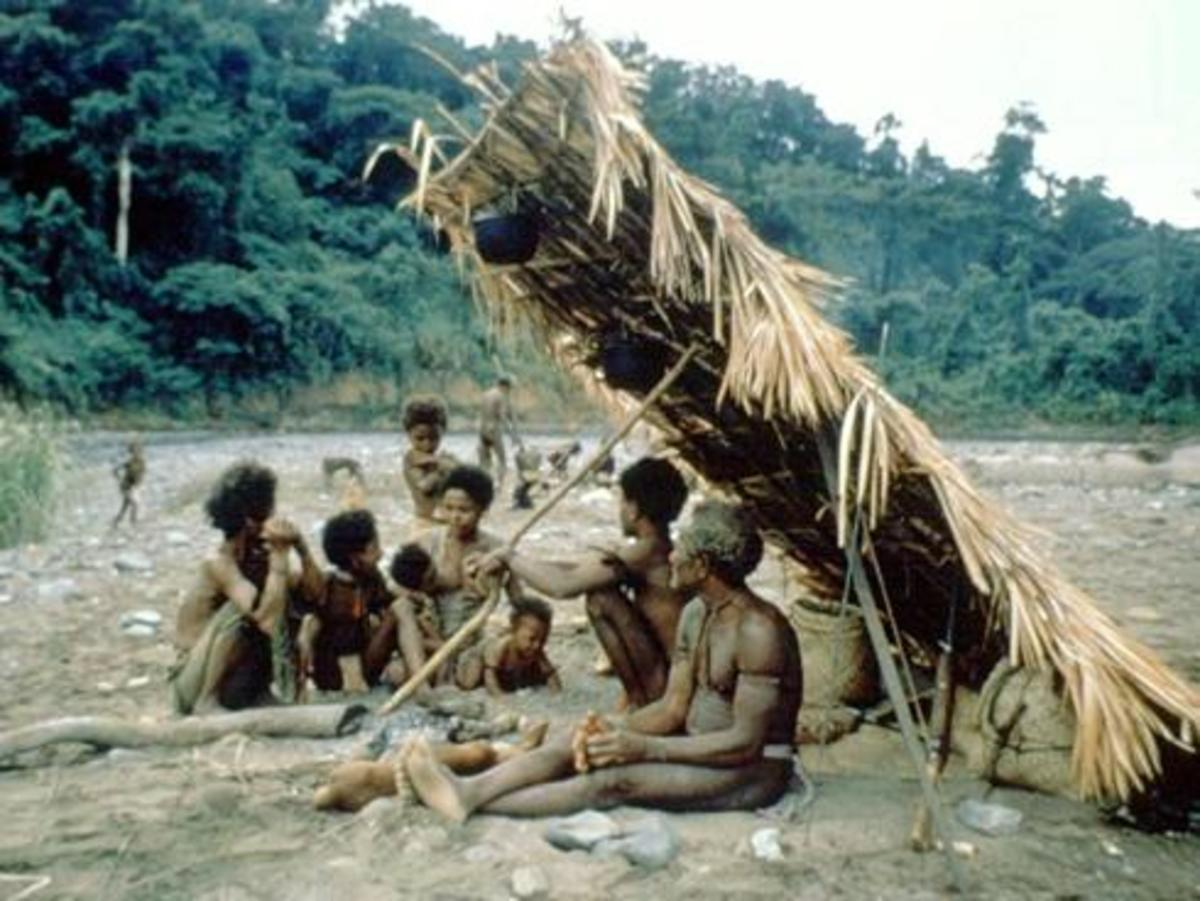A typical hunter gatherer group does just three to four hours of work a day. The rest of their day is spent relaxing in camp, chatting to their friends and family.