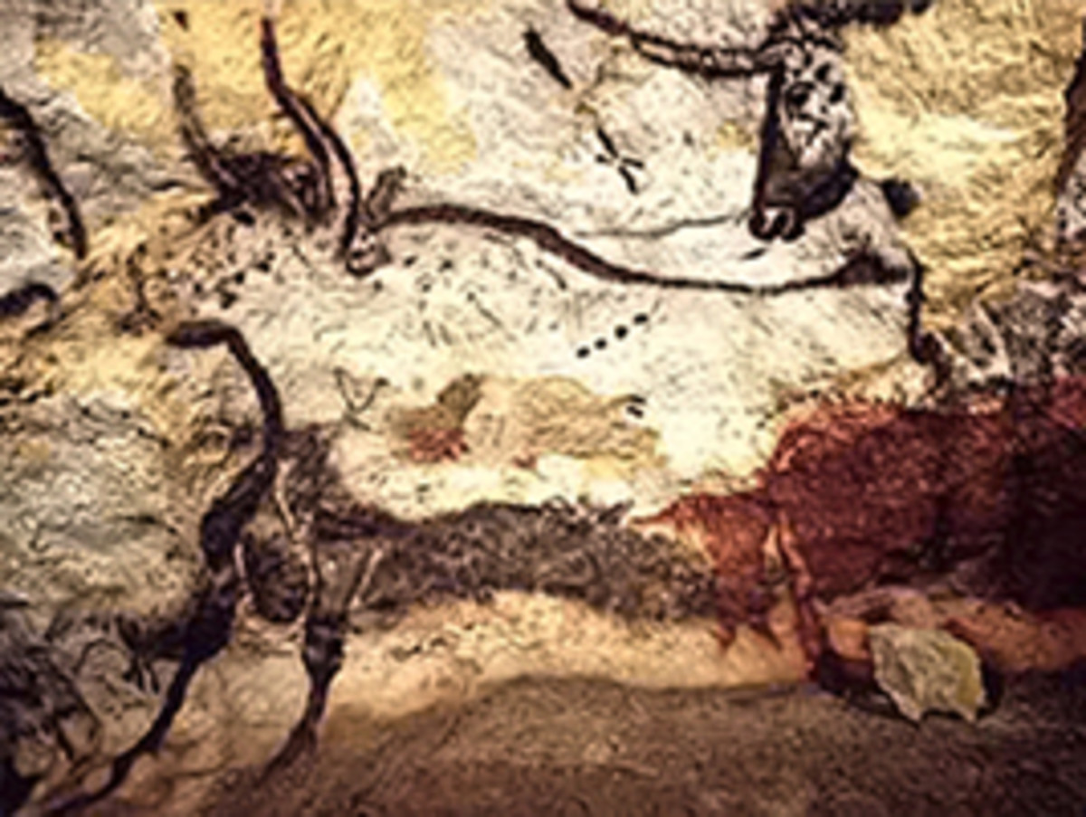 This painting depicts the now extinct ancestor of the domestic cow, the mighty auroch, an immense beast that was nearly 7 feet tall at the shoulder.