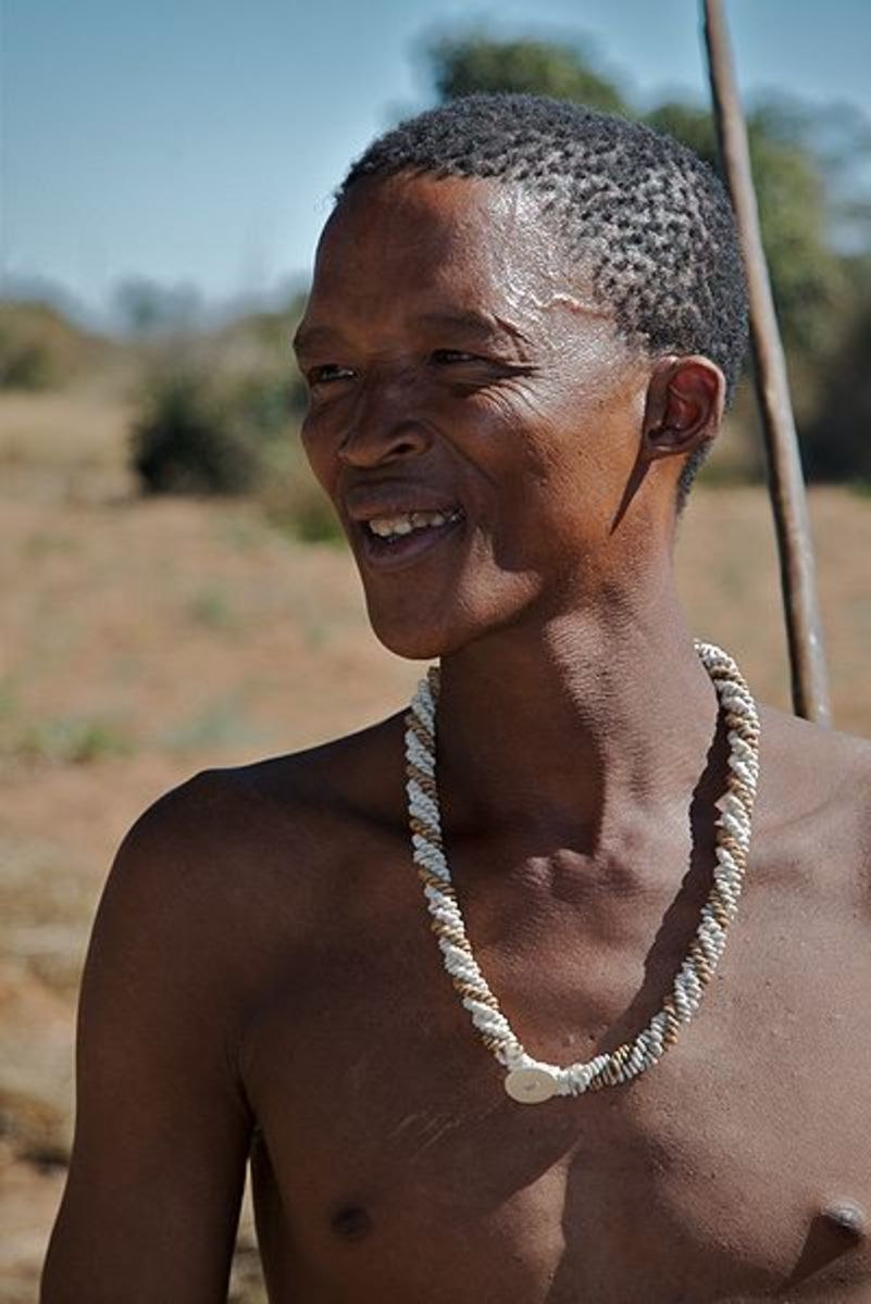 The Khoisan of South Africa are one of the last true hunter gatherers in the world. This man cannot afford to be burdened by possessions, as he needs to remain mobile at all times.