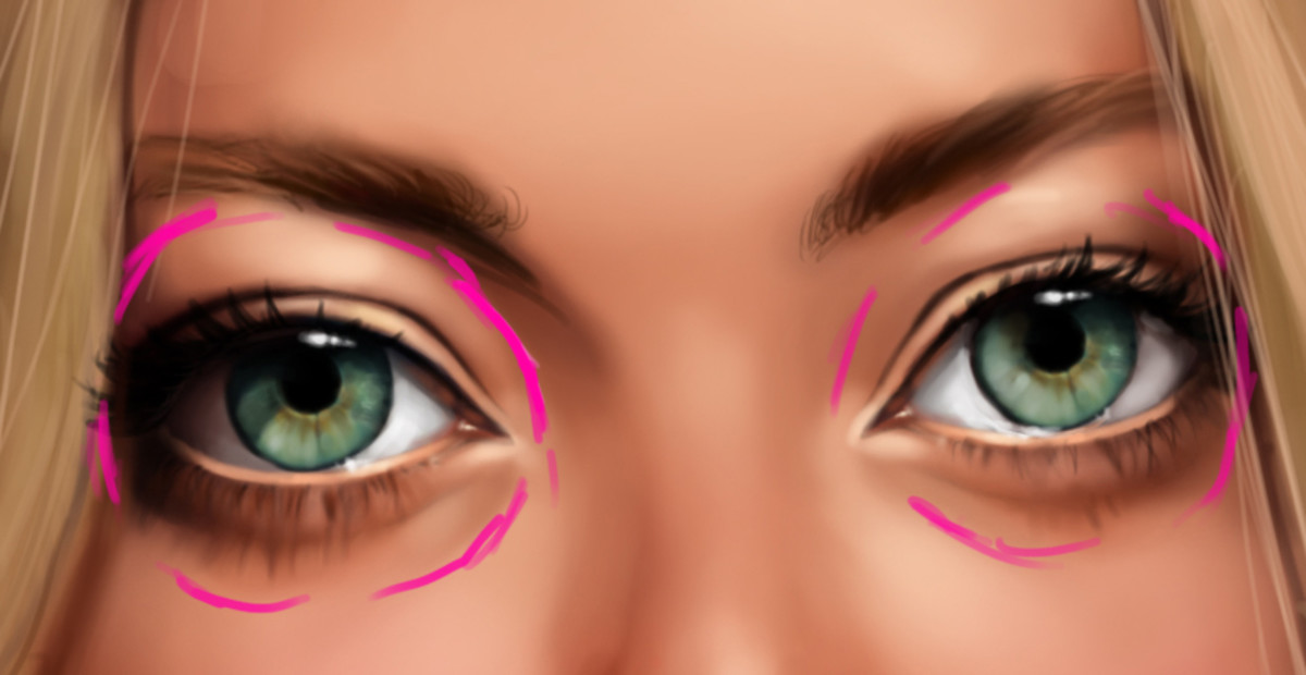 The pink lines show how the shape of the eyeball affects the shading of the area surrounding it.