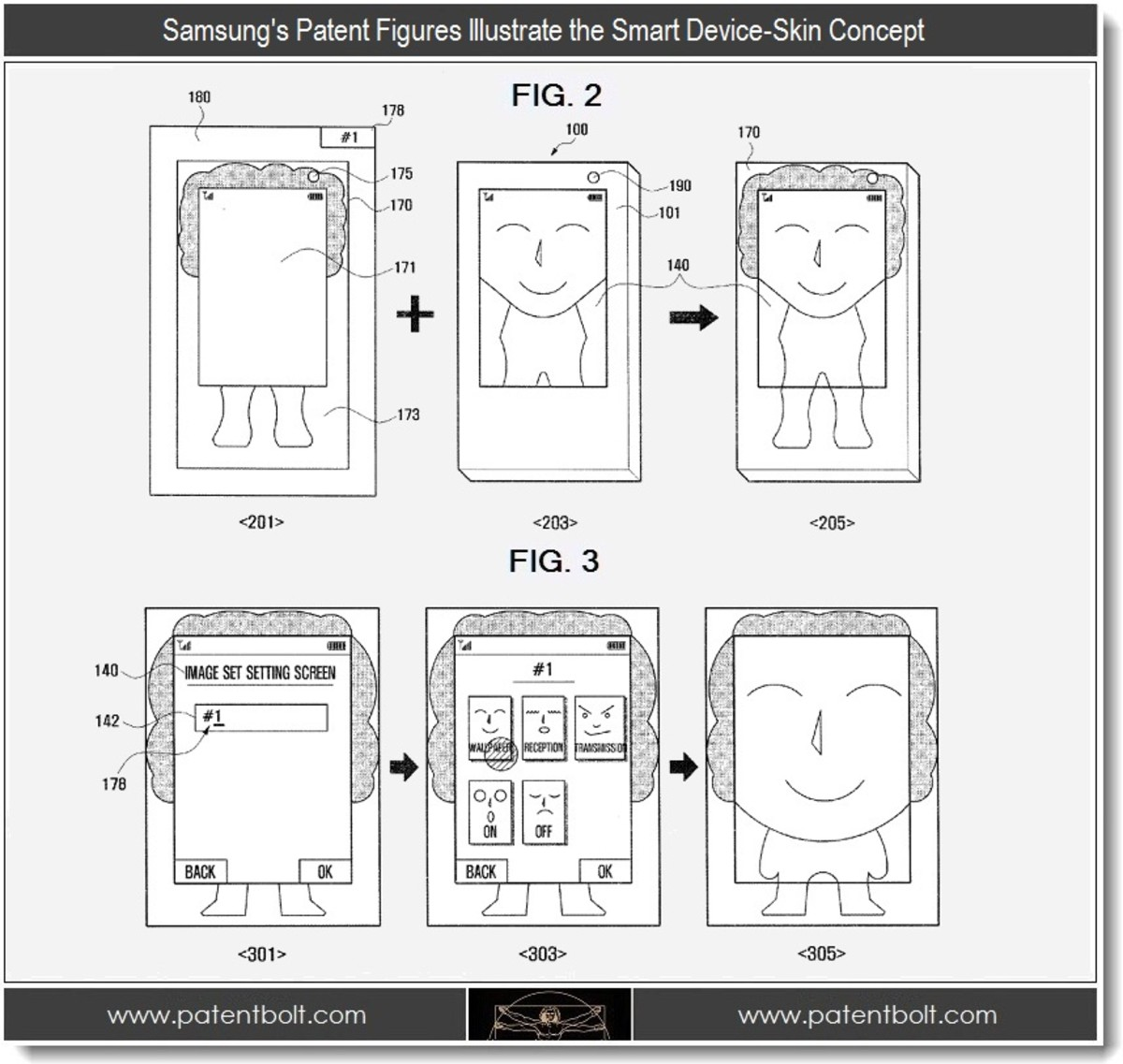 Concept art Samsung used to file a patent for smart skinned phones.